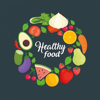 Baner z warzywami i owocami, koncepcja zdrowej żywności