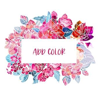 Baner z wiosennych kwiatów, tekstura tuszu alkoholowego