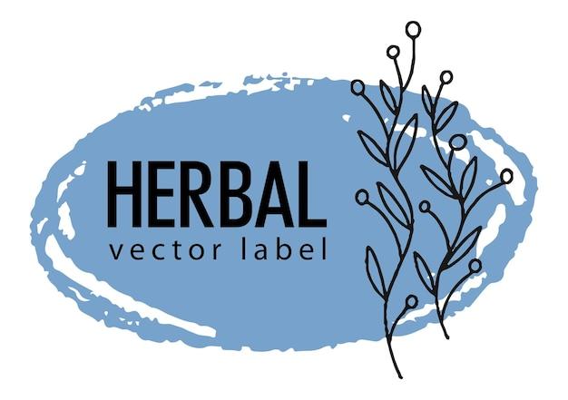 Baner z ziołową etykietą z rośliną liściową i botaniczną