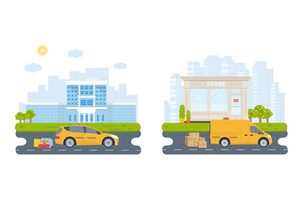 Baner z żółtą kabiną maszyny w mieście. koncepcja usługi taksówki publicznej. pejzaż miejski, lotnisko, hotel, sklep w tle. ilustracja wektorowa płaski.