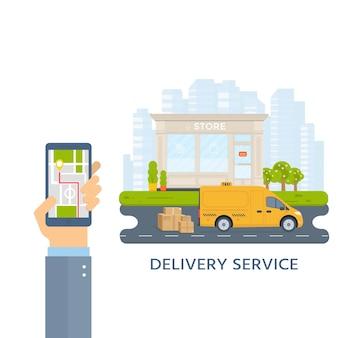 Baner z żółtą kabiną maszyny w mieście. ręka trzyma telefon z aplikacji mobilnej usługi taxi. pejzaż miejski, sklep w tle. ilustracja wektorowa płaski.