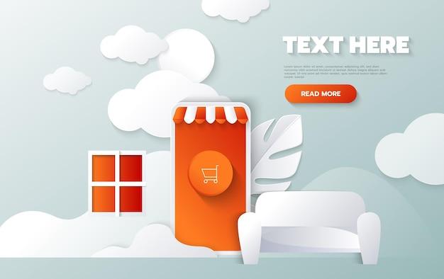 Baner zakupów online. koncepcja cięcia papieru i stylu rzemiosła. wektor, ilustracja.