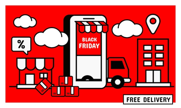 Baner zakupów online. promocja na czarny piątek