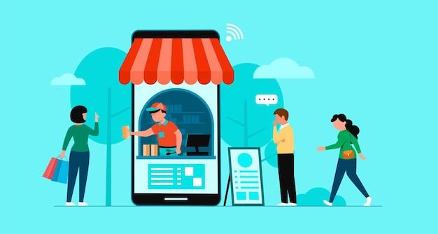 Baner zakupów online, szablony aplikacji mobilnych, koncepcja płaska