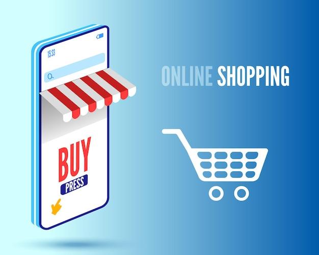 Baner zakupów online ze smartfonem i koszykiem ilustracja wektorowa