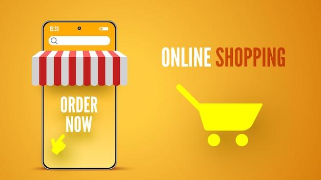 Baner zakupów online ze smartfonem ilustracja wektorowa