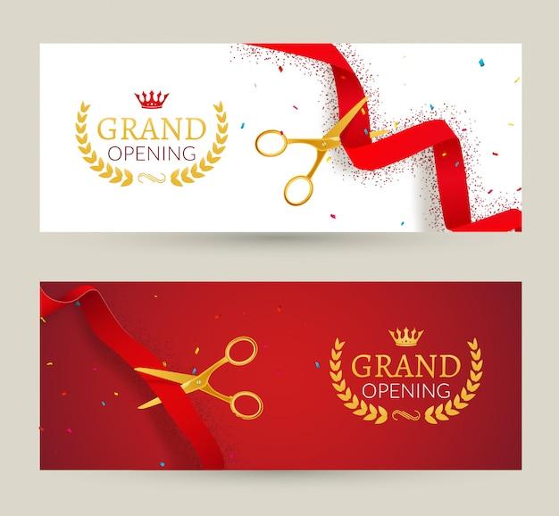 Baner zaproszenia na uroczyste otwarcie. ceremonia cięcia czerwonej wstążki. uroczyste otwarcie karty uroczystości