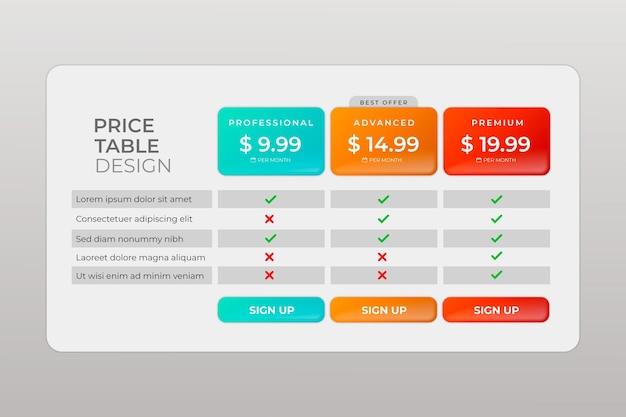 Baner ze stylem gradientu tabeli cen