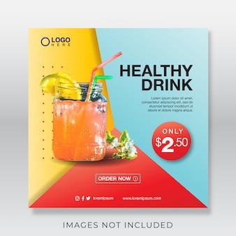 Baner ze zdrowym świeżym sokiem dla mediów społecznościowych