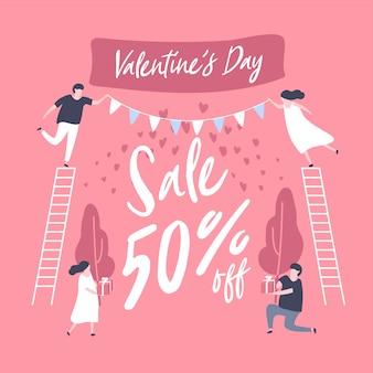 Baner zniżki sprzedaży na Walentynki.