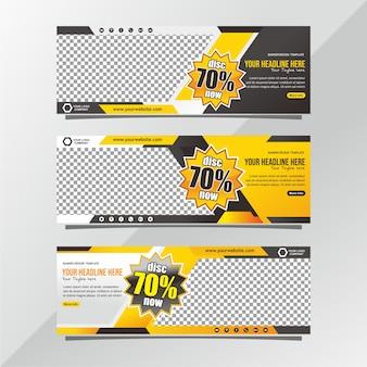 Baner Zniżki Na Sprzedaż żółty I Czarny Premium Wektorów