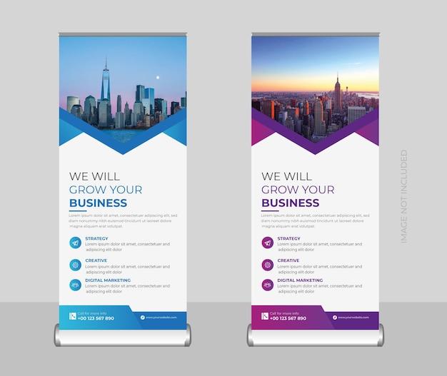 Baner zwijany korporacyjny lub stojak baner lub szablon projektu banera x i oznakowania premium wektorów