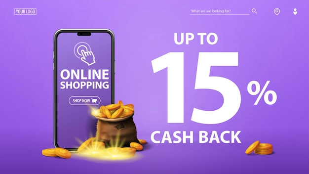 Baner zwrotu gotówki z torbą złotych monet, smartfonem i dużą ofertą na fioletowym tle