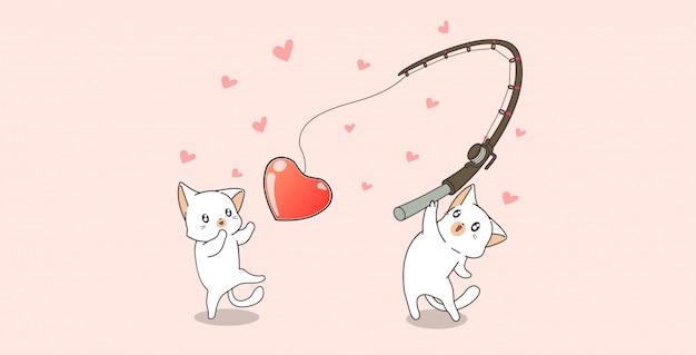 Banerowe postacie kota kawaii są wędkarskim sercem