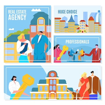 Banery agencji nieruchomości zestaw ilustracji. oferta sprzedaży domu, wynajem i kredyt hipoteczny. pośrednicy w obrocie nieruchomościami, domy na sprzedaż, klienci. działalność związana z nieruchomościami, sprzedaż mieszkań, pośrednictwo inwestycyjne.