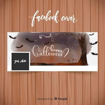 Banery akwarela facebook z koncepcją halloween