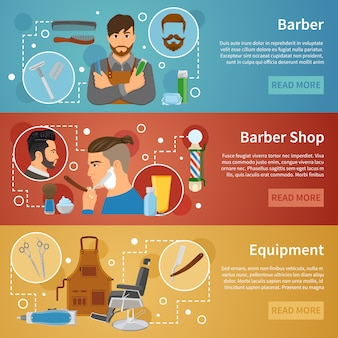 Banery barber shop set flat style