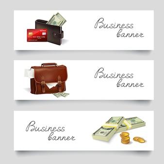 Banery biznesowe pieniądze teczki