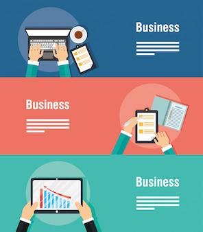 Banery biznesowe z gadżetami i ikonami