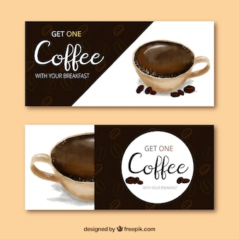 Banery cafe efektu akwareli