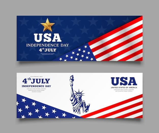 Banery celebracja flaga amerykańskiego dnia niepodległości, z tłem kolekcji projektu statua wolności, ilustracja