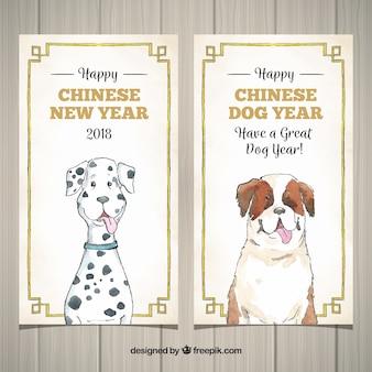 Banery chińskiego nowego roku z śmieszne ręcznie rysowane psy