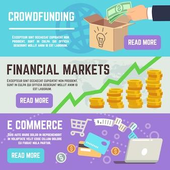 Banery crowdfundingowe. bankowość biznesowa, e handel i rynki finansowe wektorowe koncepcje