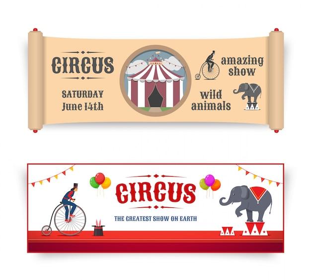 Banery cyrkowe z ilustracjami w stylu retro i płaski. wektor