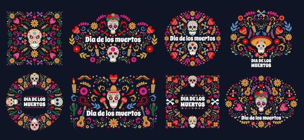 Banery dia de los muertos. dzień martwego cukru meksykańskiego ludzkiej głowy kości i kwiaty tło wektor zestaw. meksykańskie kartki świąteczne z martwych dni