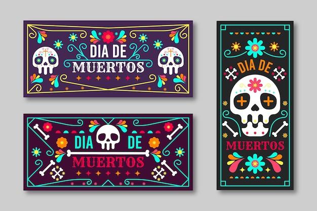 Banery dia de muertos w płaskiej konstrukcji