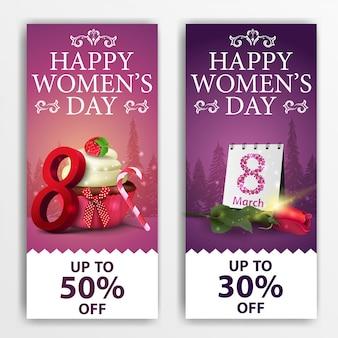 Banery dzień kobiet zniżki pionowe z ciastko i róża