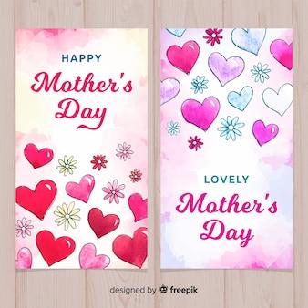 Banery dzień matki akwarela