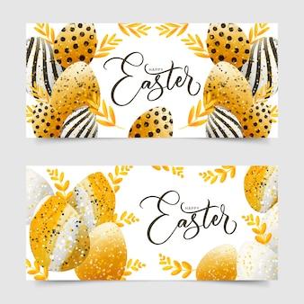 Banery dzień wielkanoc w stylu przypominającym akwarele z jajkami