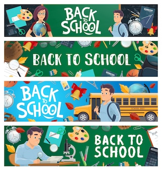 Banery edukacji szkolnej z kreskówki ucznia