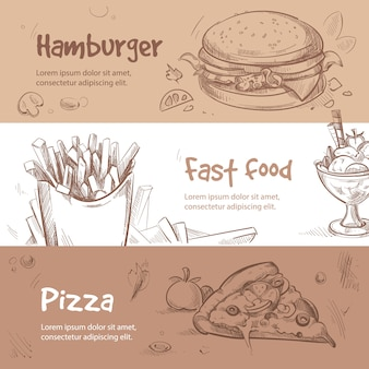 Banery fast food w ręcznie rysowane stylu