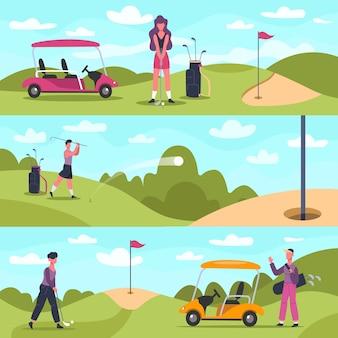 Banery golfowe. męskie i żeńskie postacie golfowe uprawiające sporty na świeżym powietrzu, ludzie w golfa ścigają i uderzają piłkę w tle ilustracji. hobby aktywność w golfa, kobieta aktywny strzał odkryty