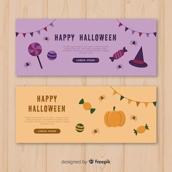 Banery halloween w płaskich wzorach