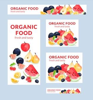 Banery ilustracji wektorowych żywności ekologicznej o różnych rozmiarach nadają się do plakatu ulotka i pokrewne