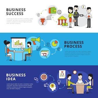 Banery ilustrujące proces biznesowy z ludźmi połączonymi wspólną pracą w biurze