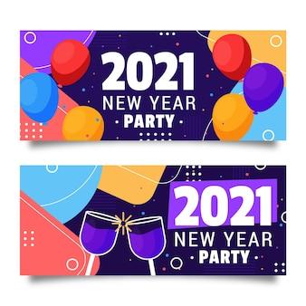 Banery imprezowe nowego roku 2021 w płaskiej konstrukcji