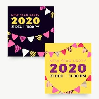 Banery imprezowe nowy rok 2020 w płaskiej konstrukcji
