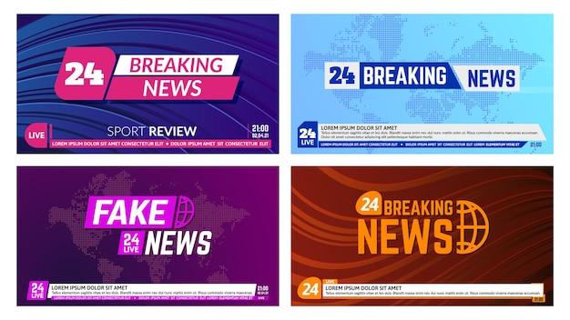 Banery informacyjne telewizyjne. nagłówek banera z najświeższymi wiadomościami, tło raportów z globalnych wiadomości. wiadomości telewizyjne nadające banery wektor zestaw ilustracji. tytuł na mapie świata z dolnym paskiem, linią wiadomości
