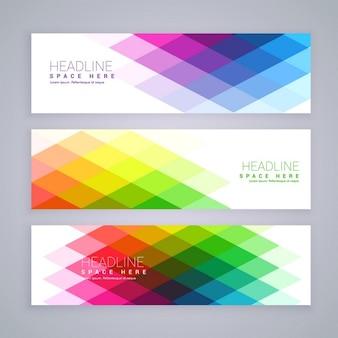 Banery internetowe komplet wykonany z abstrakcyjnych kolorowych kształtów rombów
