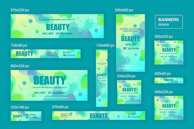 Banery internetowe o różnych rozmiarach dla sieci społecznościowych i materiałów marketingowych z reklamami zakupowymi