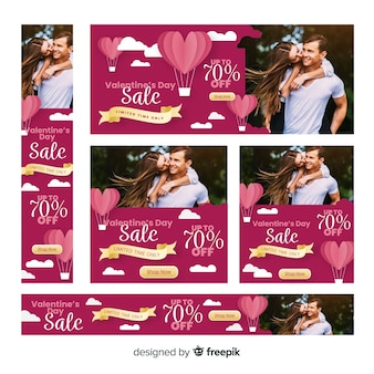 Banery internetowe sprzedaży Walentynki