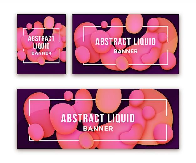 Banery internetowe z abstrakcyjnymi płynnymi kształtami