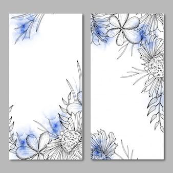 Banery internetowe z czarno-białymi kwiatowymi wzorami.