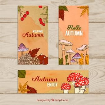 Banery jesieni z grzybami