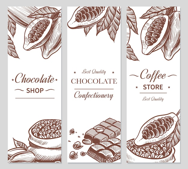 Banery kakaowe i czekoladowe. naszkicuj ziarna kakao i kawy, batony czekoladowe oraz cukierki. ręcznie rysowane słodycze, etykiety kosmetyczne kawiarni do znakowania naturalnych ulotek choco