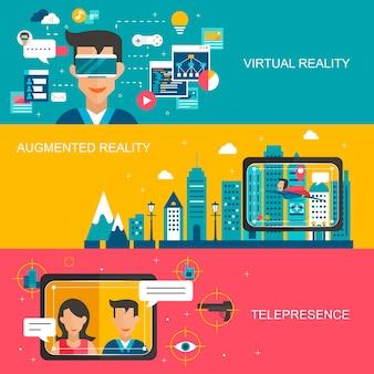 Banery koncepcja wirtualnej rzeczywistości ustawione w płaskiej konstrukcji